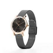 0c4332a7163b Reloj Q Q Pareja para Hombre y Mujer Correas De Metal Negro Tejido ...